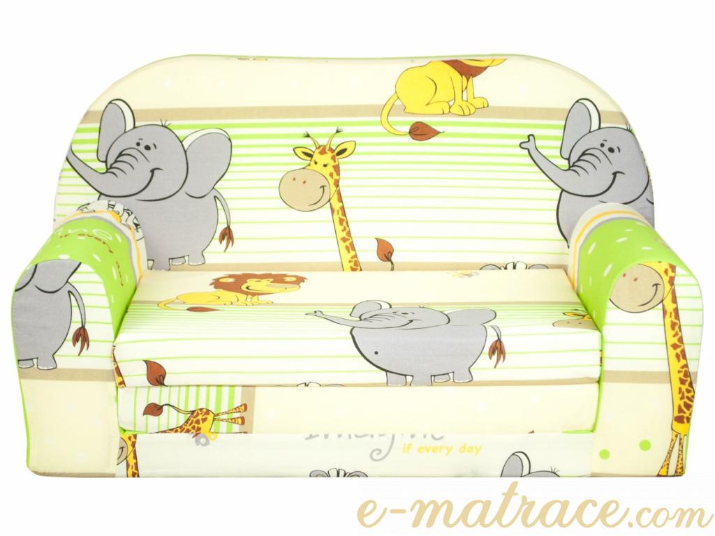 4ce1fd39e718 Dětská rozkládací mini pohovka Zoo II