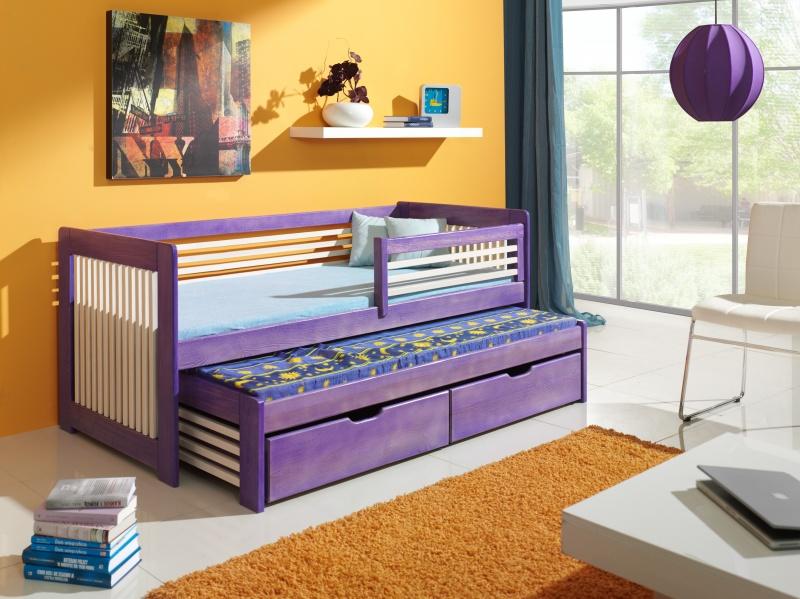 MebloBed Rozkládací postel Anatol s úložným prostorem 80x200 cm (Š 87 cm, D 208 cm, V 77 cm), Ořech, Vanilka, 2 ks matrace (1 ks hlavní + 1 ks přistýlka), zábranka vpravo 72957dc98b835be476597e35059fade8
