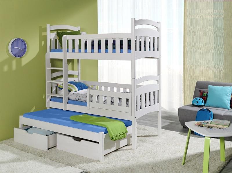 MebloBed postel Dominik III 80x200 cm (Š 87 cm, D 208 cm, V 175 cm), Bílý akryl, Bílý akryl, 3 ks matrace (2 ks hlavní + 1 ks přistýlka), se zábrankou, žebřík na levé straně
