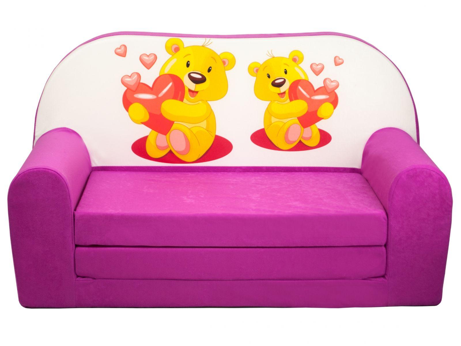 Fimex Dětská rozkládací mini pohovka Medvídci růžová