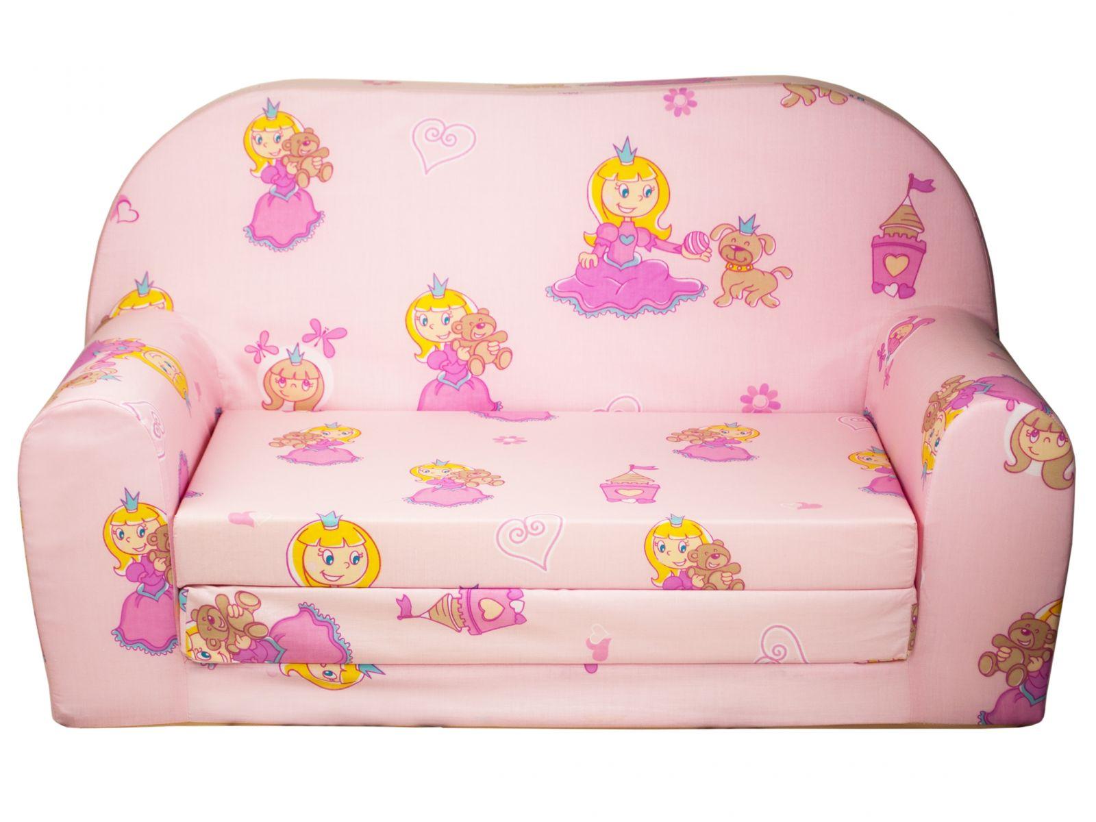 Fimex Dětská rozkládací mini pohovka Princezna růžová