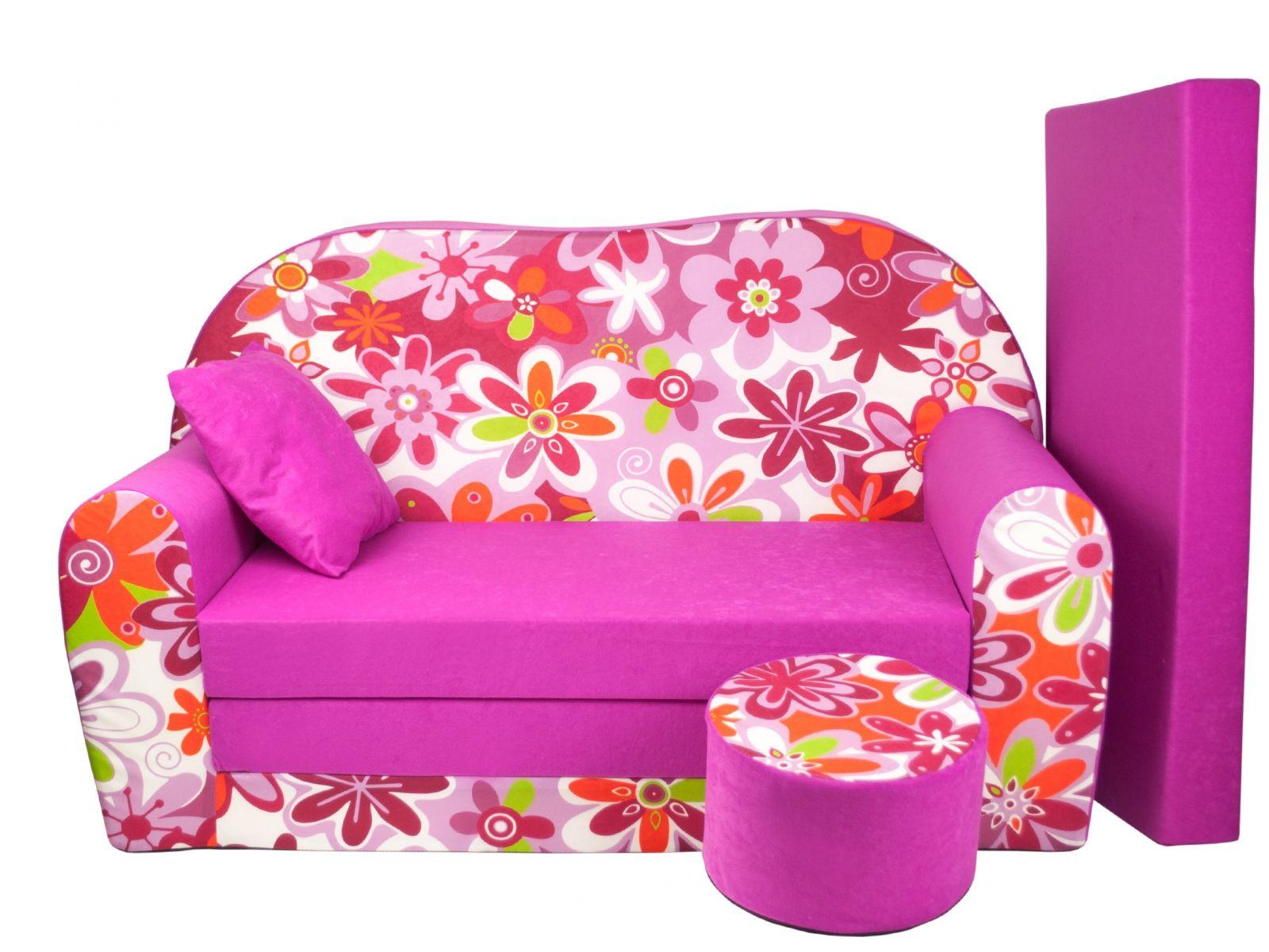 Fimex Dětská rozkládací pohovka + taburet Kytky růžová