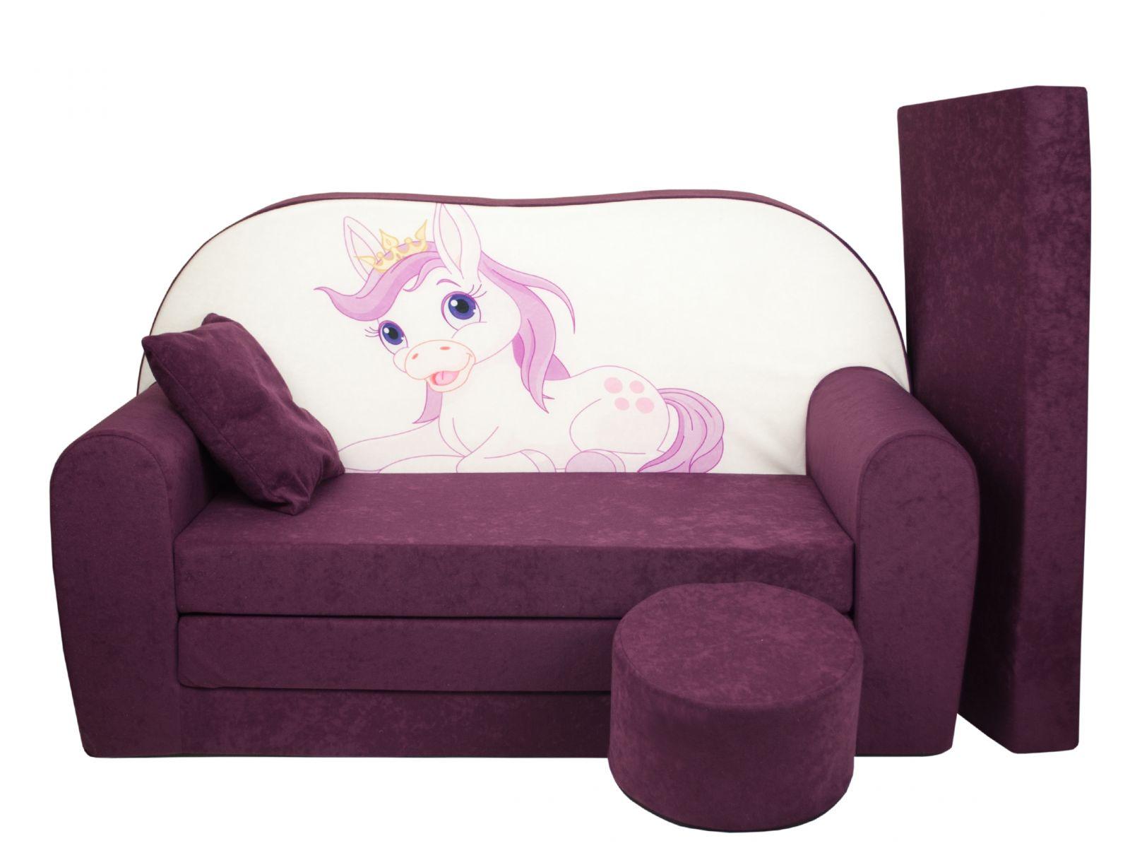 Fimex Dětská rozkládací pohovka + taburet Poník fialová