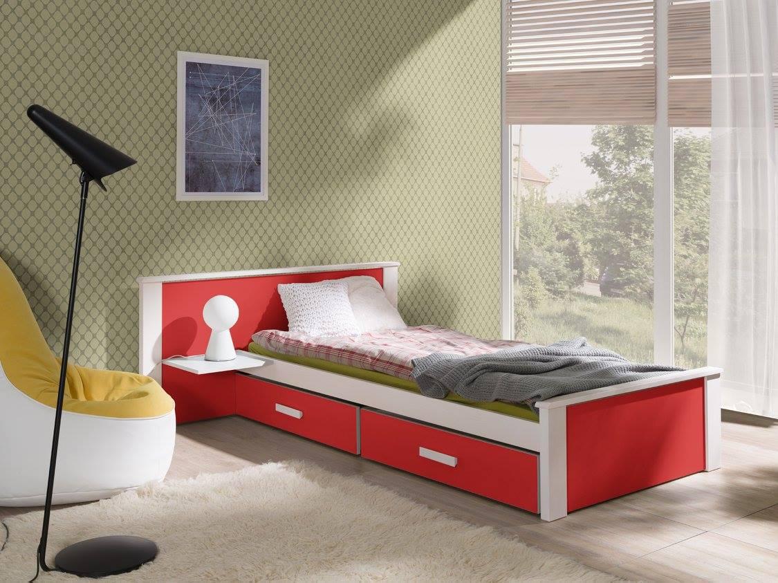 MebloBed Postel s úložným prostorem Alldo červená 90x200 cm (Š 149 cm, D 210 cm, V 72 (41) cm), noční stolek vlevo, pěnová matrace 75;79;156+4117;4125;4460