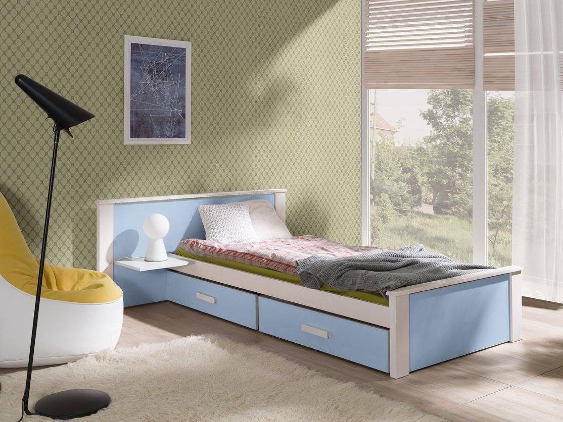 MebloBed Postel Alldo modrá 100x200 cm (Š 159 cm, D 210 cm, V 72 (41) cm), noční stolek vlevo, bez matrací