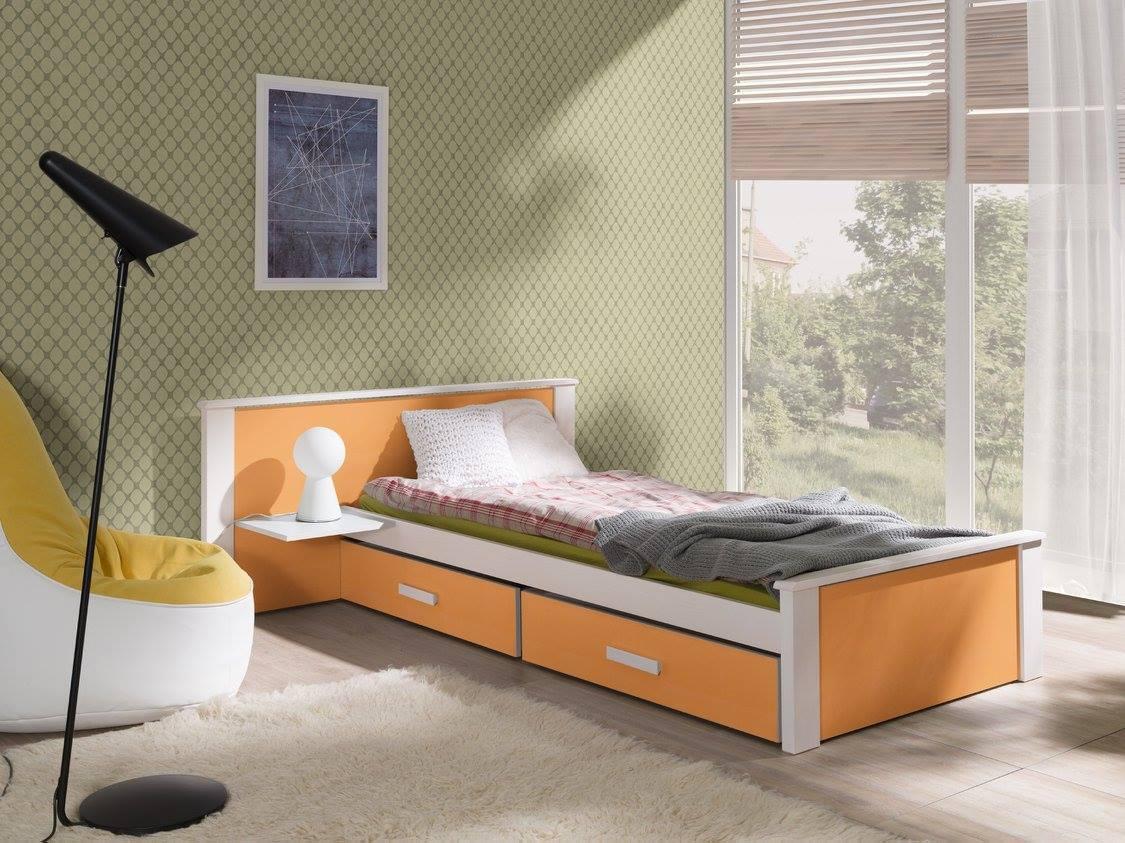 MebloBed Postel s úložným prostorem Alldo oranžová 80x180 cm (Š 139 cm, D 190 cm, V 72 (41) cm), noční stolek vlevo, pěnová matrace 75;79;156+4117;4136;4460