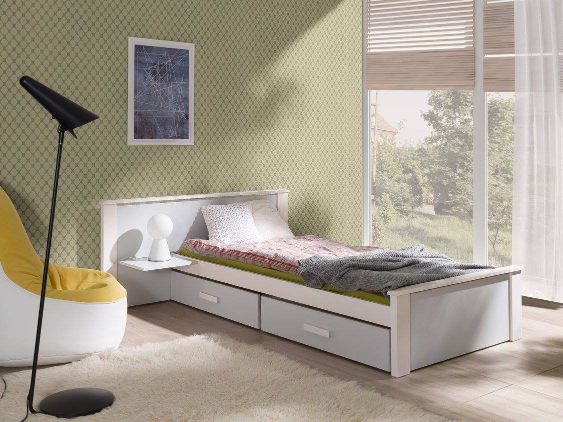 MebloBed Postel Alldo šedá 90x200 cm (Š 149 cm, D 210 cm, V 72 (41) cm), noční stolek vlevo, pr
