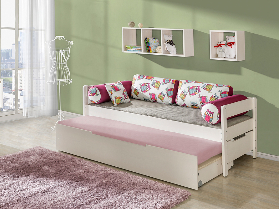 Dolmar Rozkládací postel Borys Bílá, Auta, 1 ks matrace do přistýlky, zábranka vlevo