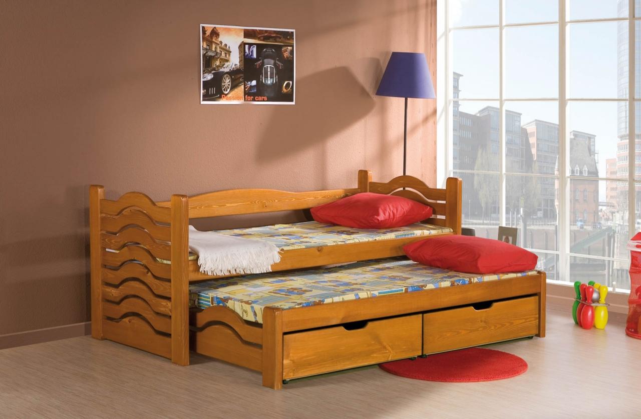 MebloBed Rozkládací postel Mikolaj s úložným prostorem 80x200 cm (Š 87 cm, D 208 cm, V 80 cm), Hruška, Hruška, 2 ks matrace (1 ks hlavní + 1 ks přistýlka), bez zábranky 8b8ee2fe2cc7baf6a0b7298aed0fb7df