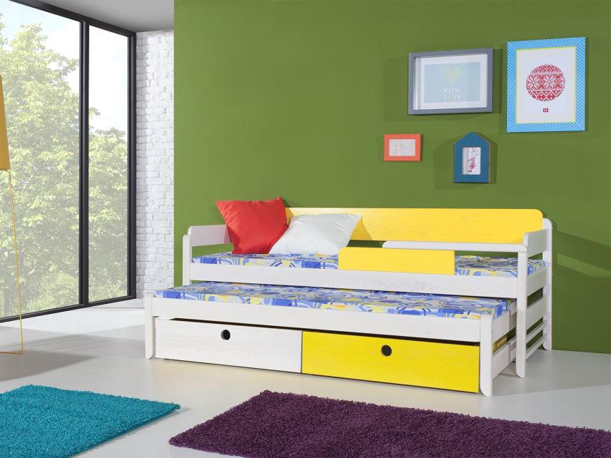 MebloBed Rozkládací postel Natu I s úložným prostorem 80x200 cm (Š 87 cm, D 208 cm, V 79 cm), Grafit, Růžová, 2 ks matrace (1 ks hlavní + 1 ks přistýlka), bez zábranky 17436904fbd21249963c6d6913648b27