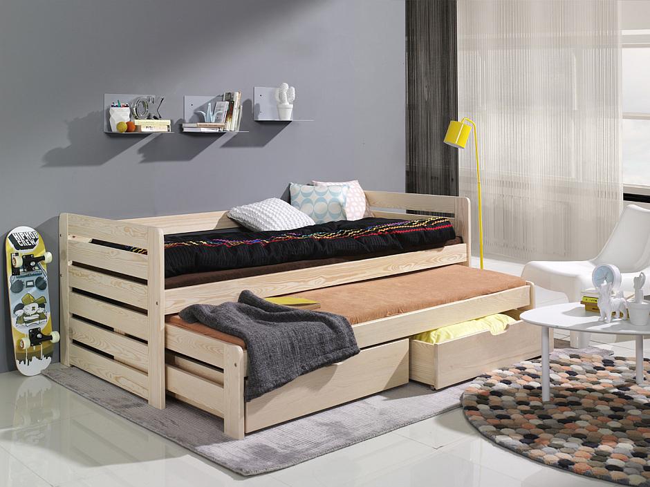 MebloBed Rozkládací postel Tomáš s úložným prostorem 80x200 cm (Š 87 cm, D 208 cm, V 80 cm), Přírodní borovice, Přírodní borovice, 2 ks matrace (1 ks hlavní + 1 ks přistýlka) 2c74396d7553fdd1d9f82a4adef36a71
