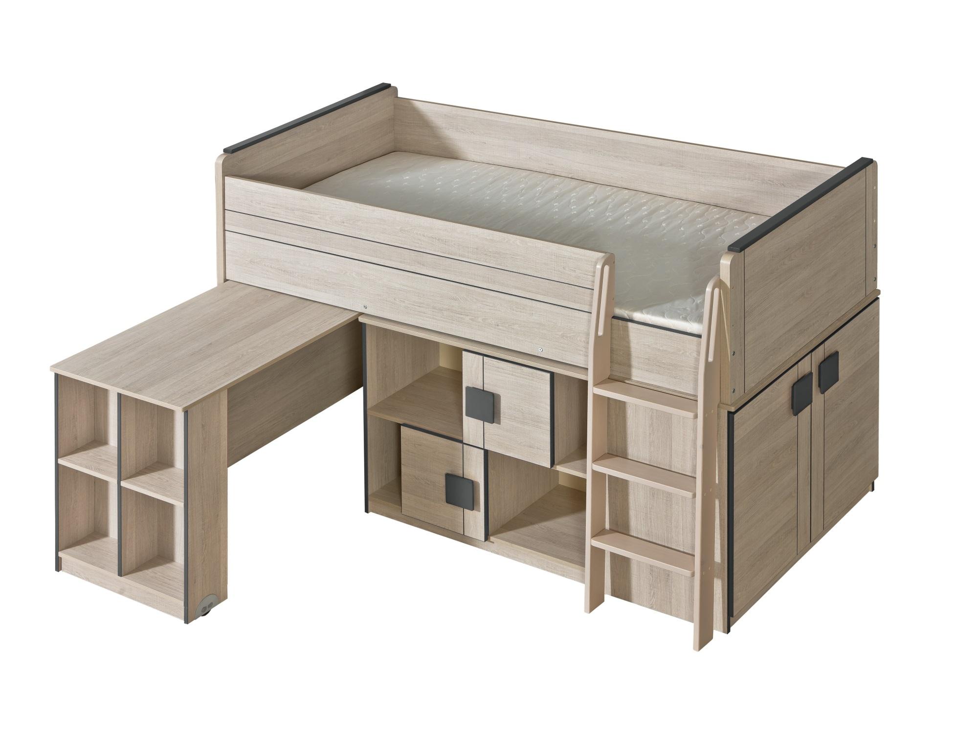 Dolmar Vyvýšená postel Gumi G19 s komodou a výsuvným stolem