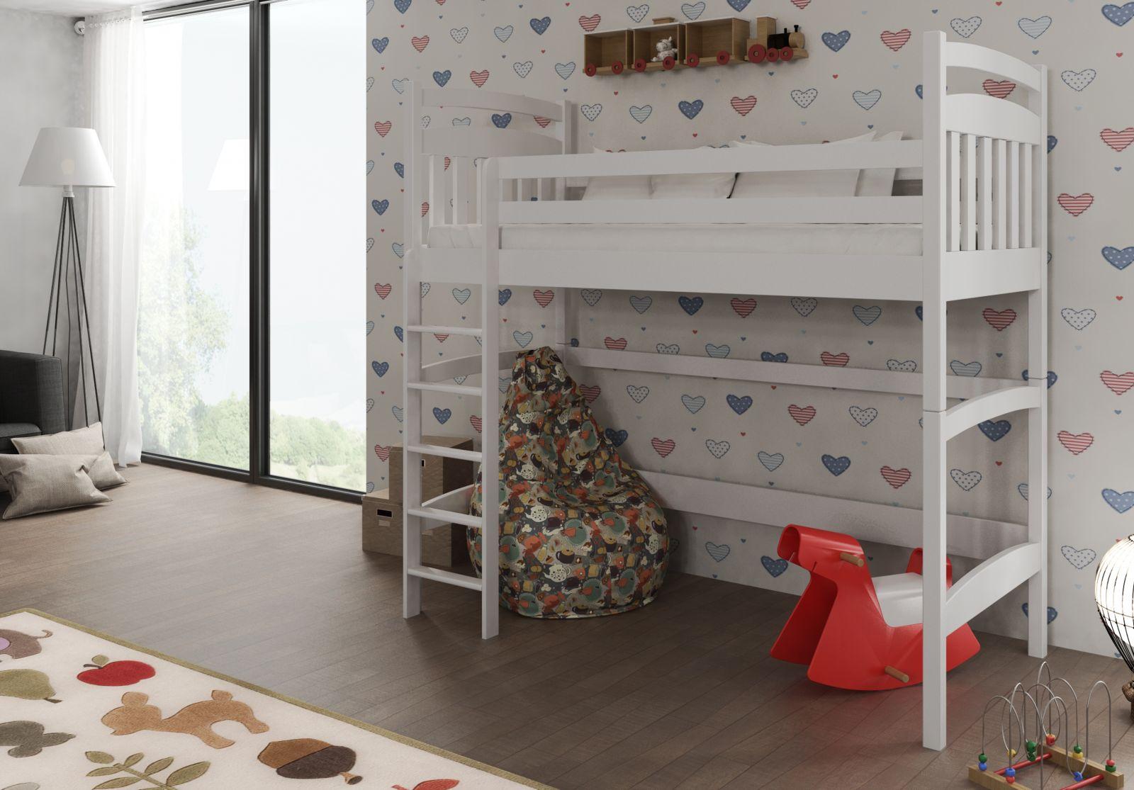 Lano Meble Vyvýšená postel Tess 80x180 cm (Š 88 cm, D 188 cm, V 185 cm), Bílá, bez matrací, žebřík na pravé straně